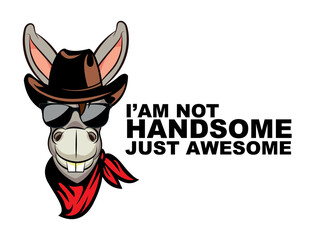 Cartoon funny cowboy donkey mascot. donkey motivational and inspirational vector poster. Simple cute donkey drawing with lettering. You are handsome quote.