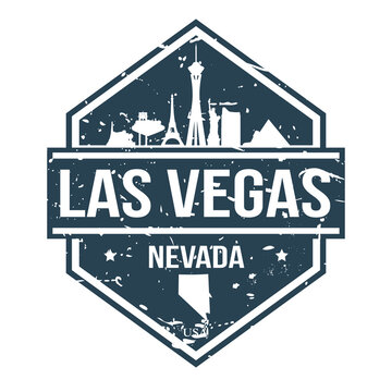 Las Vegas Nevada Travel Stamp Icon Skyline City Design.