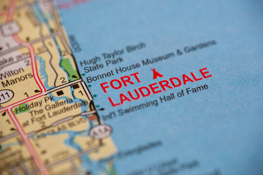 WOODBRIDGE, NEW JERSEY - July 13, 2020: A map of Florida is shown with a focus on Fort Lauderdale.