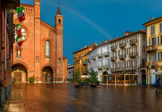 San Lorenzo cathedral on central town square in Alba, Italy.