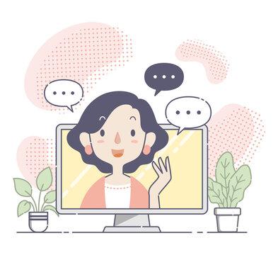 オンラインセミナー、オンライン会議で話す女性