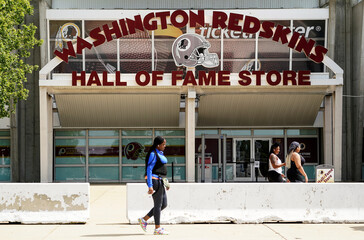 Washington Redskins logos are displayed at FedEx Field in Landover, Maryland