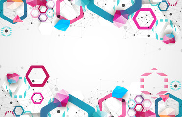 Hexagonal geometric array. Abstract background. Science and connection vector concept.