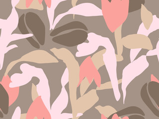 Abstract floral seamless vector pattern. Pink and brown palette