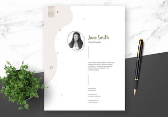 Teacher Resume and Cover Letter Layout with Beige Elements