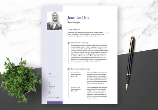 Resume Cover Letter and Portfolio Layout with Blue Elements