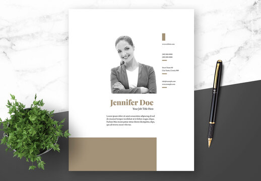 Resume Cover Letter and Portfolio Layout with Gold Elements