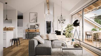 view inside modern luxury attic loft apartment - 3d rendering
