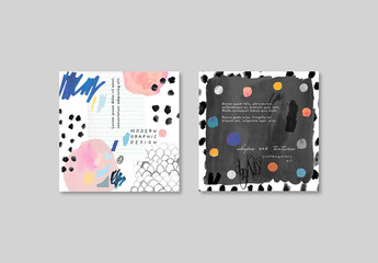 Set of Cards with Artistic Background