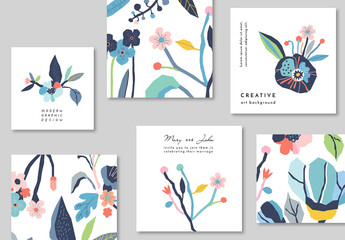 Set of Cards with Floral Elements