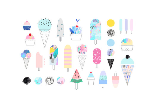Art Kit of Drawn Sweets Icons