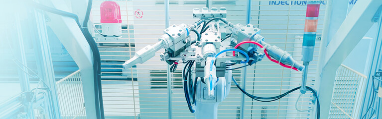 web banner robotic and AI engineering for ultrasonic welding use in injection moulding factory
