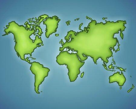 Mapamundi, mapa del mundo en verde