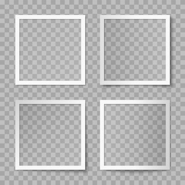 Vector set of white square photo card frames