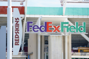Washington Redskins team name and logos are displayed at FedEx Field in Landover, Maryland