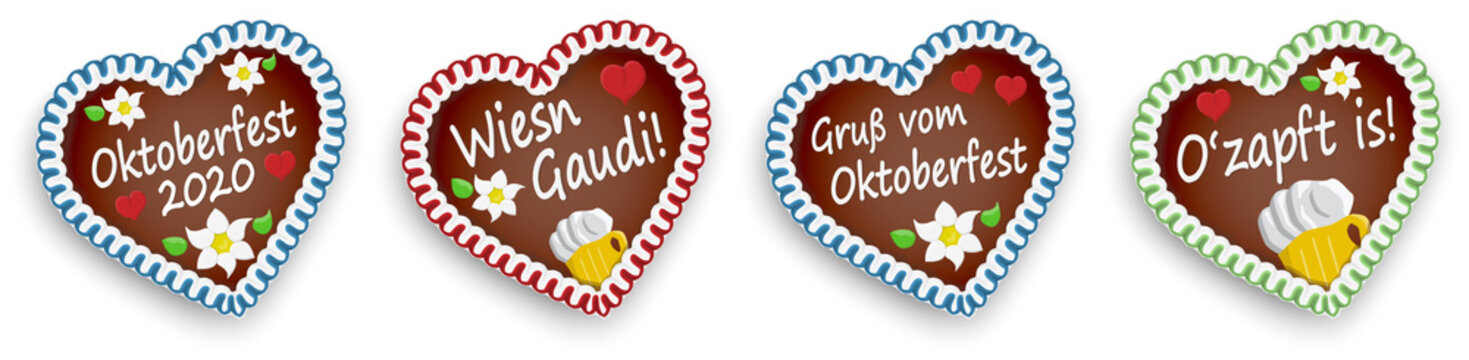 four gingerbread hearts Oktoberfest 2020 2021