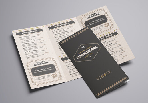 Rustic Food Trifold Menu Layout
