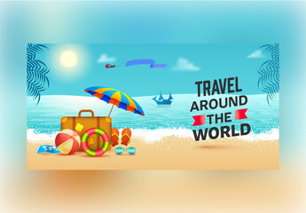 Summer Holiday Background with Illustrated Beach Elements