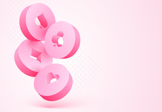 3D Casino Chips on Pink Background