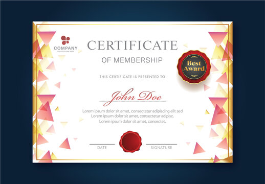 Certificate of Membership Best Award with Red Seal Design and Text Space