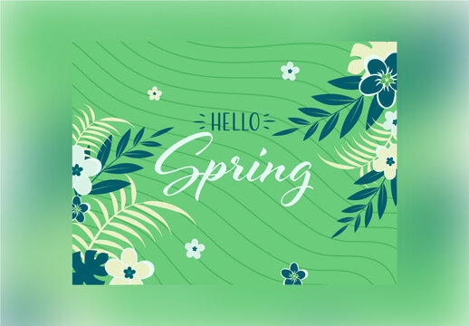 Flowers and Tropical Leaves Decorated on Green Wavy Stripe Background