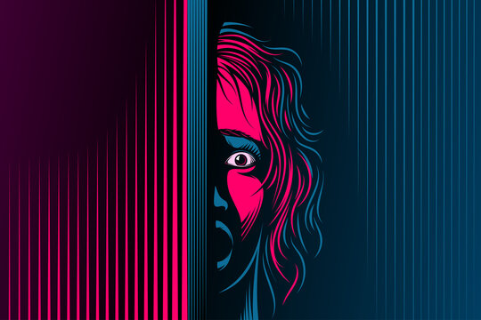 Woman with open mouth, eyes. The emotion of fear, scared on face. Girl is in shock, dumbfounded, stupor, speechless. Victim of domestic violence, abuse. Vector illustration in retro noir comics style