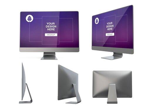 Desktop Computer Mockup in Different Views