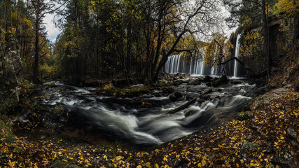 Amazing view of waterfall cascade and stream flowing through autumn forest with colorful yellow leaves on overcast day Wall mural
