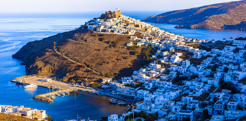 Traditional Greece - beautiful Astypalea island.Dodecanese. View of Chora village over sunset