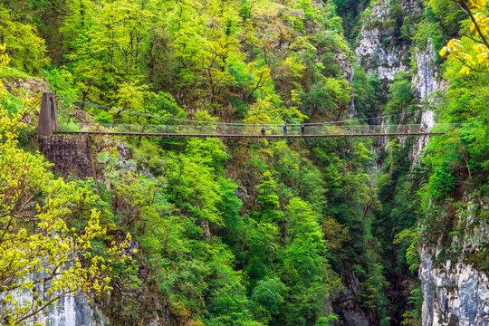 Larrau, Pyrenees-Atlantiques Department / France - April 30, 2018: Holzarte footbridge over the Olhadubi gorges
