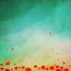 Beautiful spring nature background with pastel sky and red poppies.