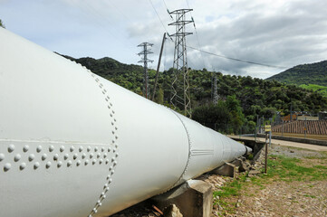 Water pipeline of the Las Buitreras hydroelectric power station in El Colmenar, Malaga province, Spain