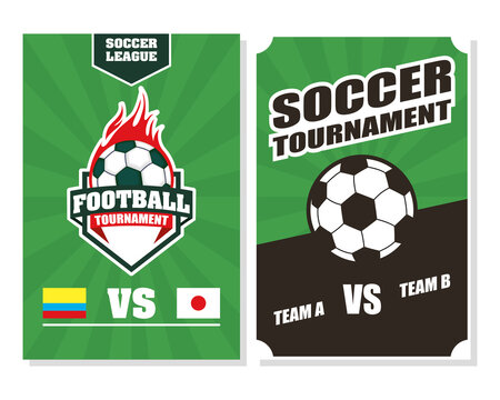 football soccer sport poster with balloons on fire