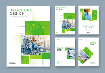 Business Report Cover Layout Set  with Green Elements