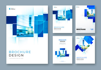 Business Report Cover Layouts with Blue Rectangles