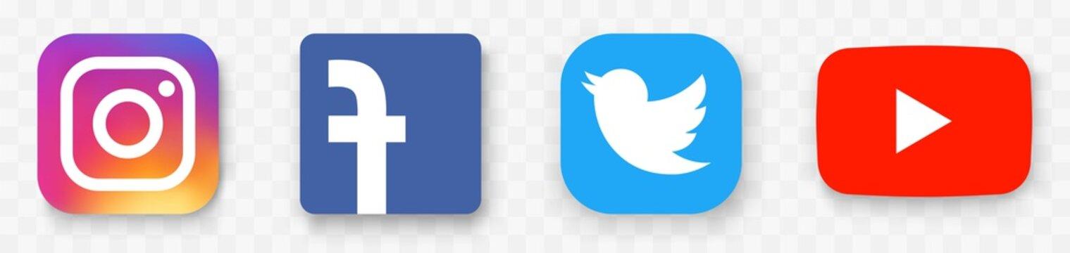 Social media icons set.Facebook, twitter instagram and youtube logo.Set of popular social media logos.