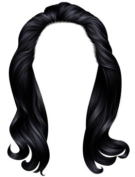 trendy woman long hairs black colors.beauty fashion .   realistic  graphic 3d