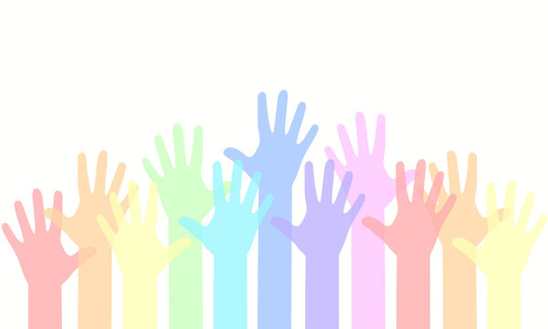 Group people hands up, volunteer or voting concept background, human hand.