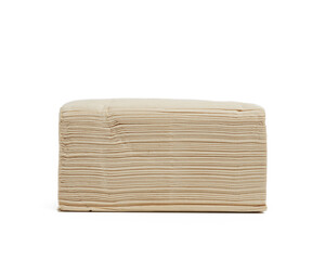 stack of paper disposable beige folded square napkins on a white background