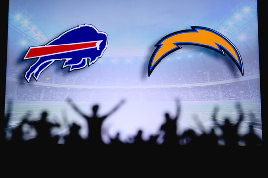 Buffalo Bills vs. Los Angeles Chargers. Fans support on NFL Game. Silhouette of supporters, big screen with two rivals in background.