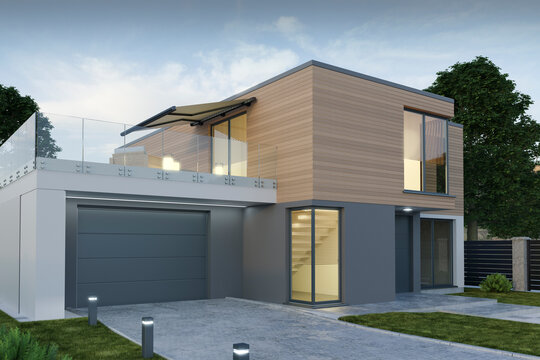 Modern house with garage, 3D illustration