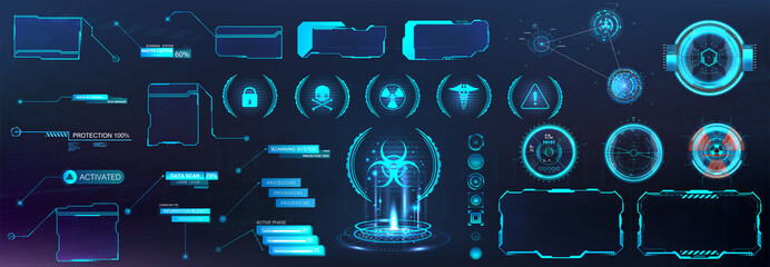 Digital set with HUD elements (Callouts titles, Holograms projectors, circle sky-fi gadgets, frames) VR elements and shapes. Futuristic information bars and digital elements for App, GUI, UI, UX.