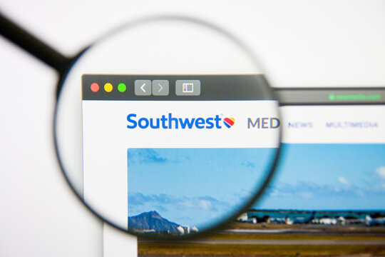 Los Angeles, California, USA - 14 February 2019: Southwest Airlines website homepage. Southwest Airlines logo visible on display screen.
