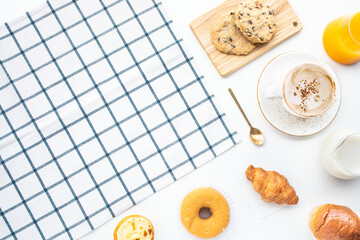 Set of breakfast food or bakery,cake on table with copy space background