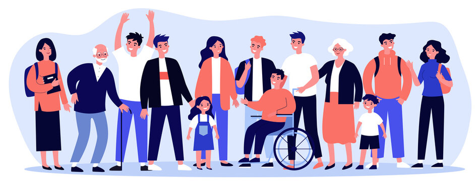 Diverse community members standing together. Crowd of happy men, women of different ages, children and disabled person. illustration for civil society, diversity, togetherness, citizens concept