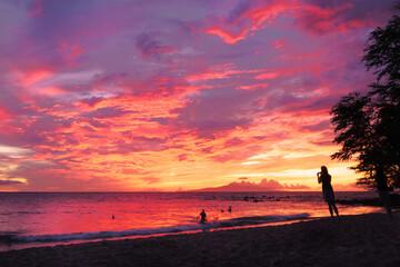Photo sur Plexiglas Corail sunset in maui