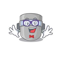 Wall Mural - A cartoon drawing of geek welding mask wearing weird glasses
