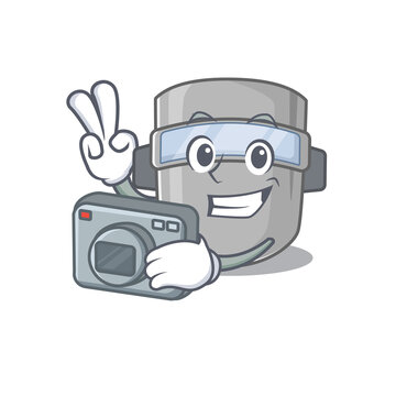 a professional photographer welding mask cartoon picture working with camera