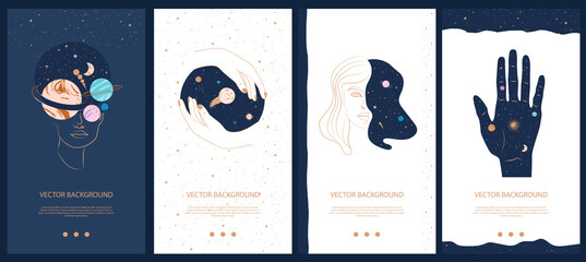 Obraz Collection of space and mysterious illustrations for stories templates, Mobile App, Landing page, Web design in hand drawn style. Magic, occultism and astrology concept.  - fototapety do salonu