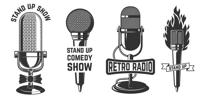 Stand up show. Set of emblems with retro microphones . Design element for logo, label, sign, poster, t shirt. Vector illustration